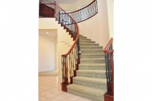Beautiful rod iron banister with cherry wood railing with vaulte