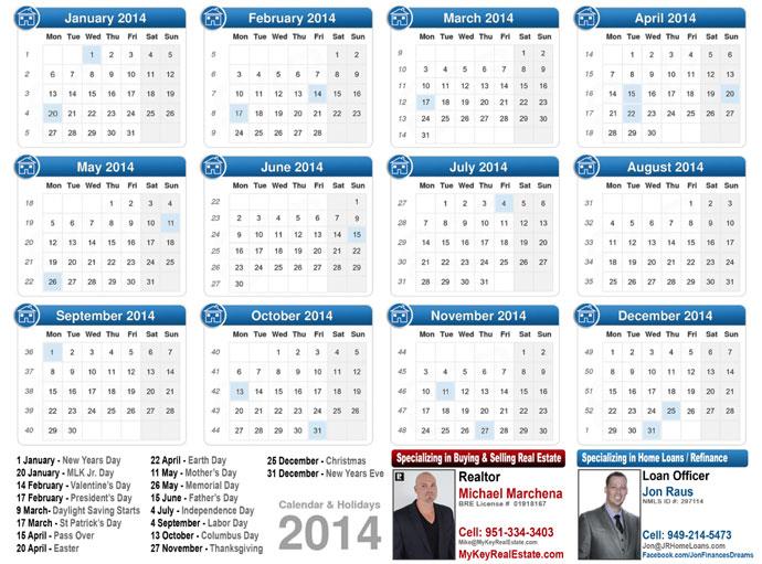 2014 Calendar California Real Estate
